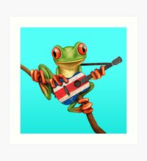 Tree Frog Playing Costa Rican Flag Guitar Art Print