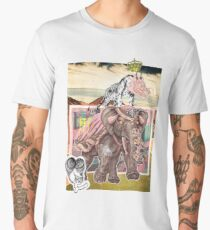 Surreal Abstract Art Tiger & Elephant Collage Design Men's Premium T-Shirt