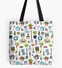 Garden Gear - Frühling Gartenarbeit Muster w / Gartengeräte und Zubehör Tote Bag