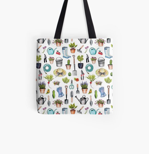 Garden Gear - Spring Gardening Pattern w/ Garden Tools & Supplies All Over Print Tote Bag