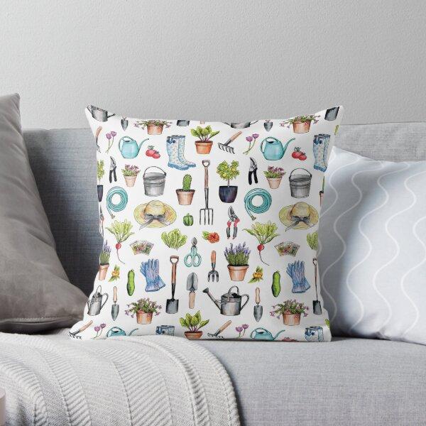 Garden Gear - Spring Gardening Pattern w/ Garden Tools & Supplies Throw Pillow