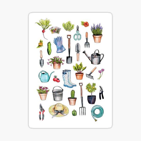 Garden Gear - Spring Gardening Pattern w/ Garden Tools & Supplies Sticker