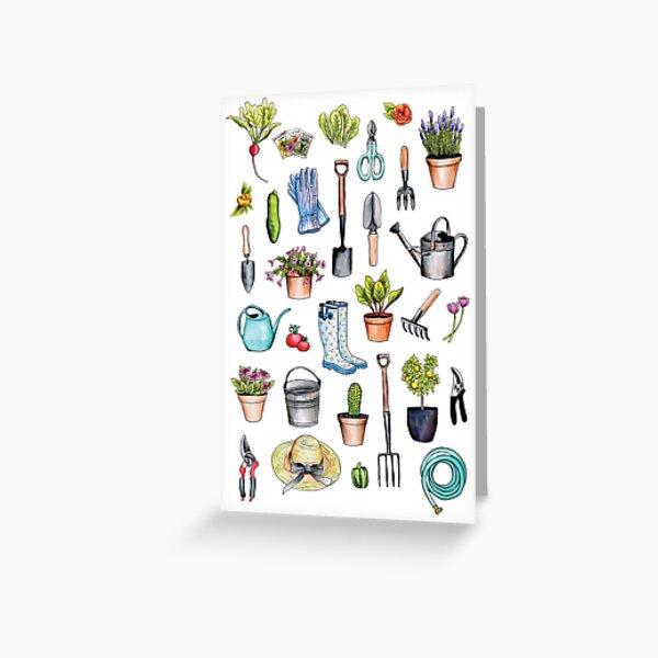 Garden Gear - Spring Gardening Pattern w/ Garden Tools & Supplies Greeting Card