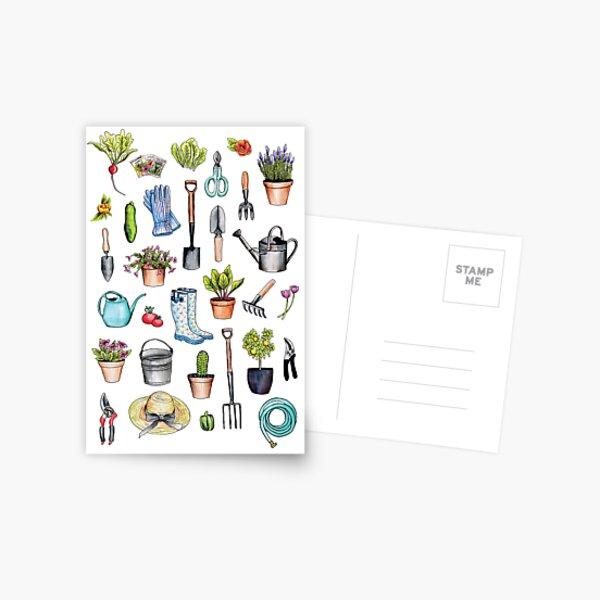 Garden Gear - Spring Gardening Pattern w/ Garden Tools & Supplies Postcard