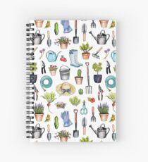 Garden Gear - Spring Gardening Pattern w/ Garden Tools & Supplies Spiral Notebook