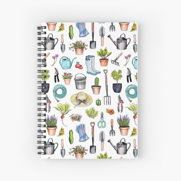 Garden Gear - Spring Gardening Pattern w/ Garden Tools & Supplies Spiral Notebook