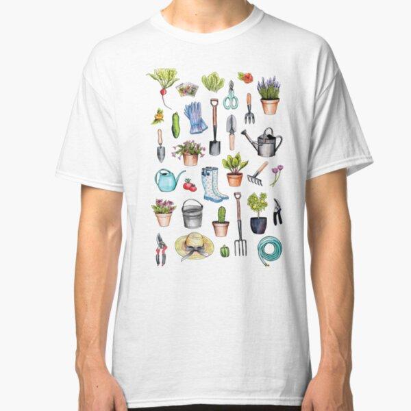 Garden Gear - Spring Gardening Pattern w/ Garden Tools & Supplies Classic T-Shirt