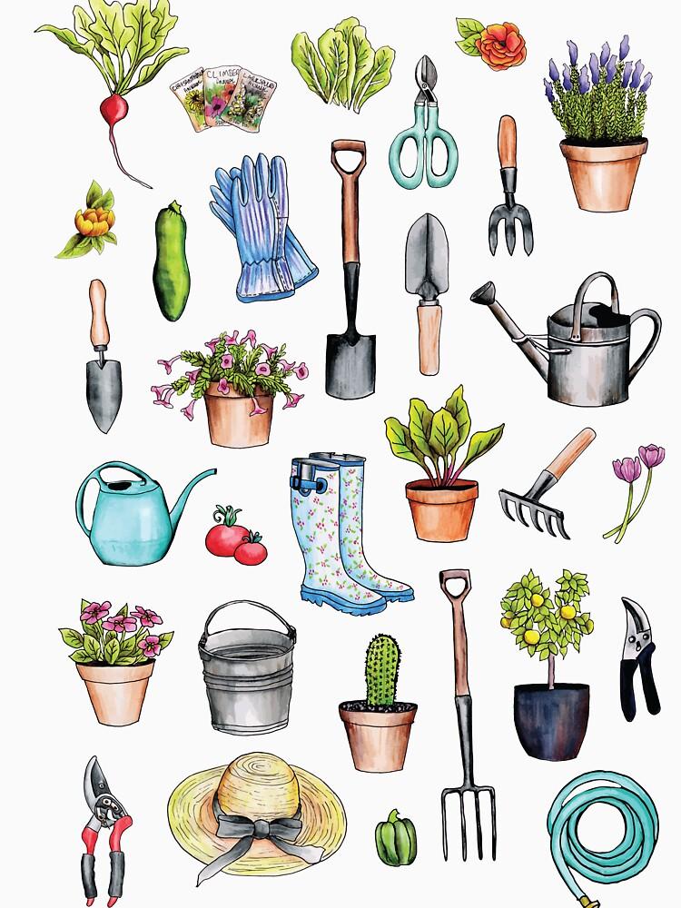 Garden Gear - Spring Gardening Pattern w/ Garden Tools & Supplies by somecallmebeth