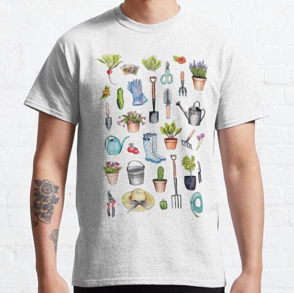Es la manera perfecta de mostrar tu amor por la jardinería. Todos los objetos fueron ilustrados a mano con tinta y acuarela. Camiseta clásica