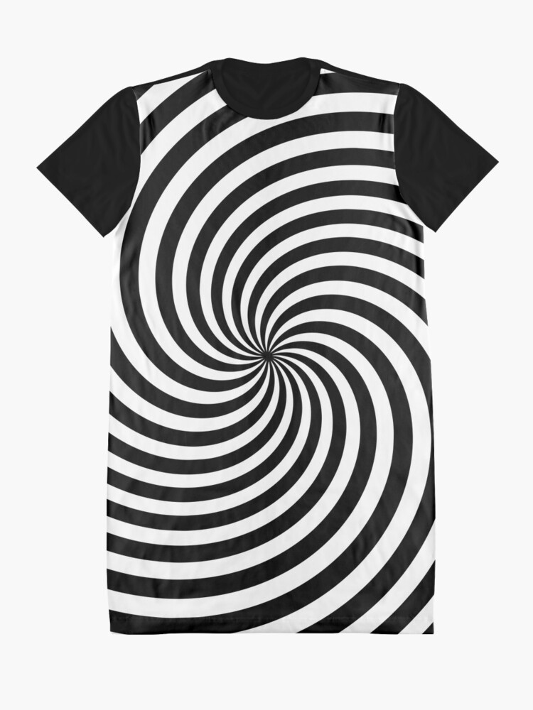 Alternate view of Black And White Op-Art Spiral Graphic T-Shirt Dress