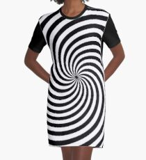 Black And White Op-Art Spiral Graphic T-Shirt Dress