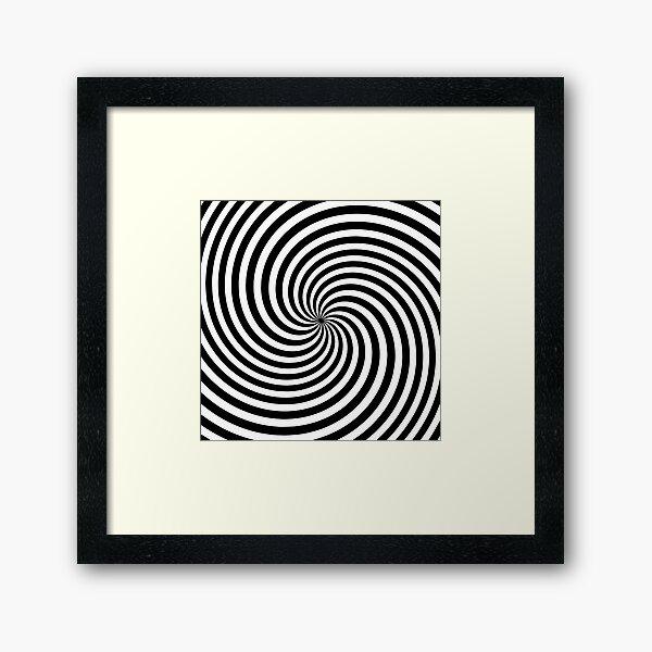 Black And White Op-Art Spiral Framed Art Print