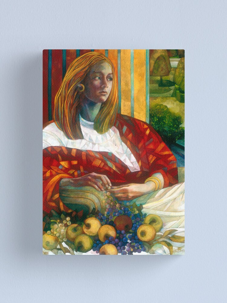 Alternate view of sitting lady with fruit Canvas Print