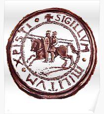 Templar T-Shirt Distressed Knight Seal Medieval Symbol Logo  Poster