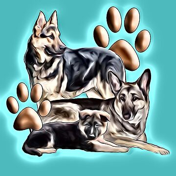 German Shepherd Family Group by IowaArtist