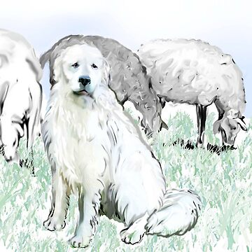 Great Pyrenees guarding the flock by IowaArtist