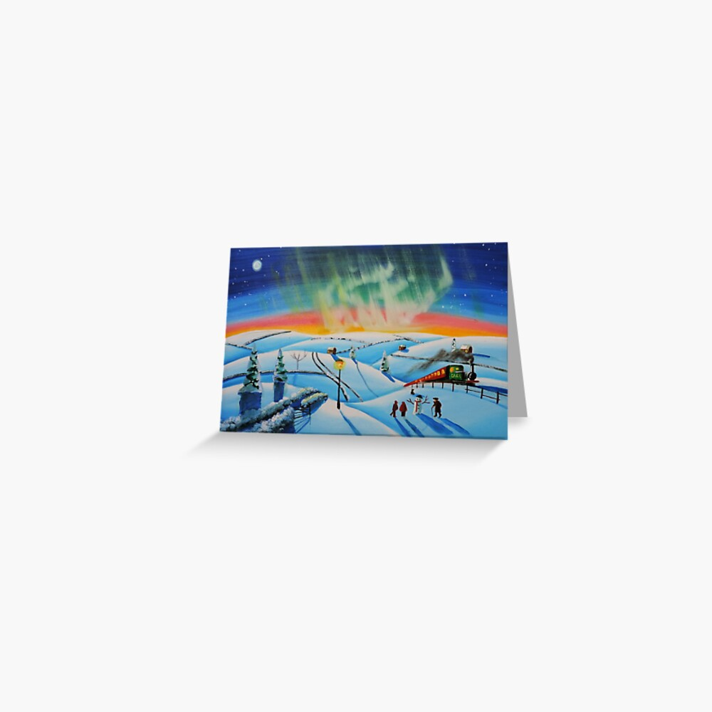 The northern lights naive landscape  Greeting Card