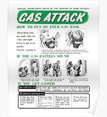 Gas Attack instruction poster WW2 Poster