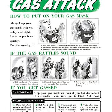 Gas Attack instruction poster WW2 by reapolo