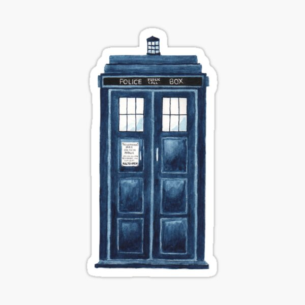 Watercolour TARDIS Sticker