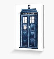 Watercolour TARDIS Greeting Card