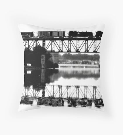 Train Crossing Bridge Black&White Throw Pillow