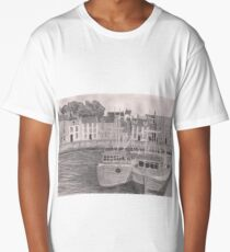 Pittenweem Harbour - Pencil Sketch Long T-Shirt