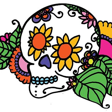 Creepy Cute Sugar Skull with Flowers Romantic Day of the Dead Skull by vivacandita