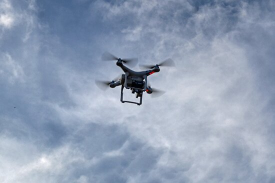 Out of the Blue a Drone appears.. by lynn carter