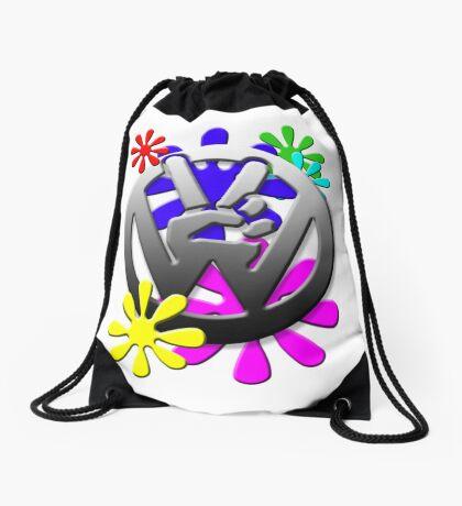 Peace hippie flowers  Drawstring Bag