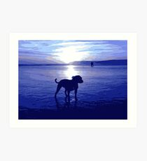Staffordshire Bull Terrier on Beach in Blue, Pop Art Print Art Print
