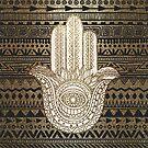 «Patrón nativo Golden Hamsa Hand» de maryedenoa
