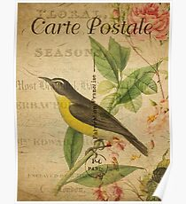 Vintage Postcard Yellow Bird Poster