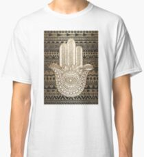 Native Pattern Golden Hamsa Hand Classic T-Shirt