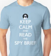 Keep Calm and Read the Spy Brief - white on blue Unisex T-Shirt