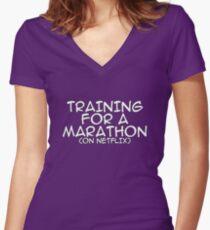 Training for a marathon (on netflix) Women's Fitted V-Neck T-Shirt