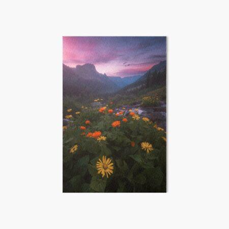 Landscape with flowers. Art Board Print