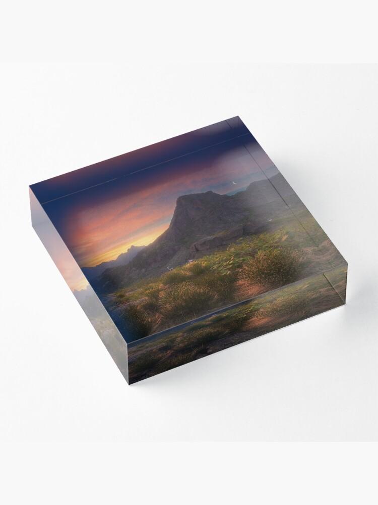 Alternate view of Dawn over the mountain Sleeping Sayan. Acrylic Block