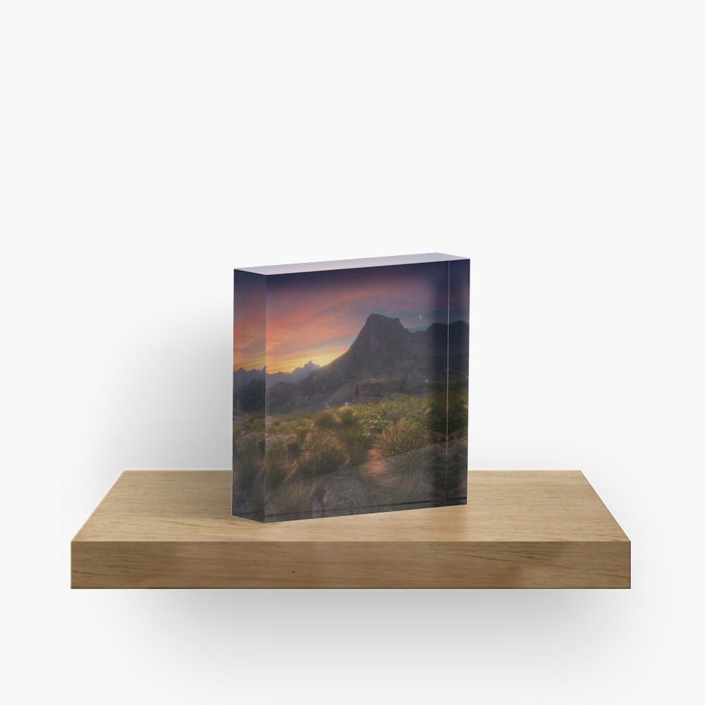 Dawn over the mountain Sleeping Sayan. Acrylic Block