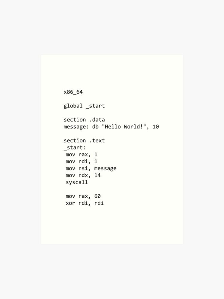 Code, Assembly Language | Art Print