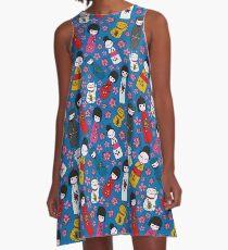 Juicy Blue Kokeshi Dolls A-Line Dress