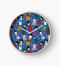 Juicy Blue Kokeshi Dolls Clock