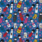 Juicy Blue Kokeshi Dolls by SleepyDogDesign