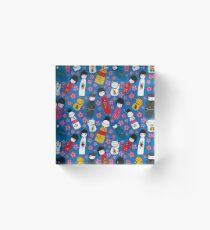 Juicy Blue Kokeshi Dolls Acrylic Block