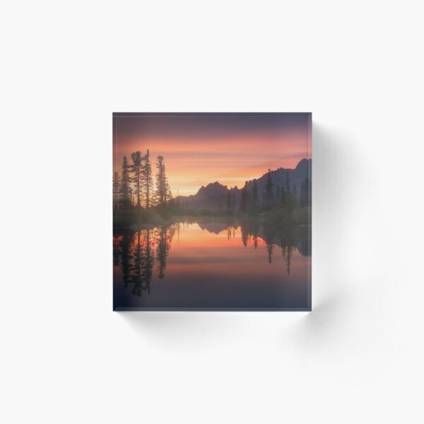 Evening on the lake. Acrylic Block