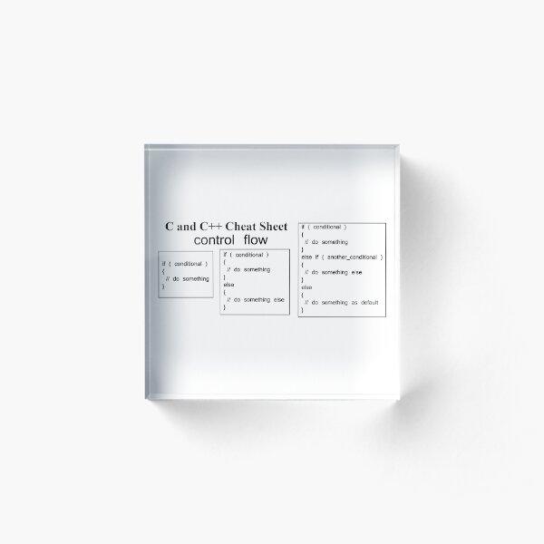 C and C++ Cheat Sheet: Control Flow Acrylic Block