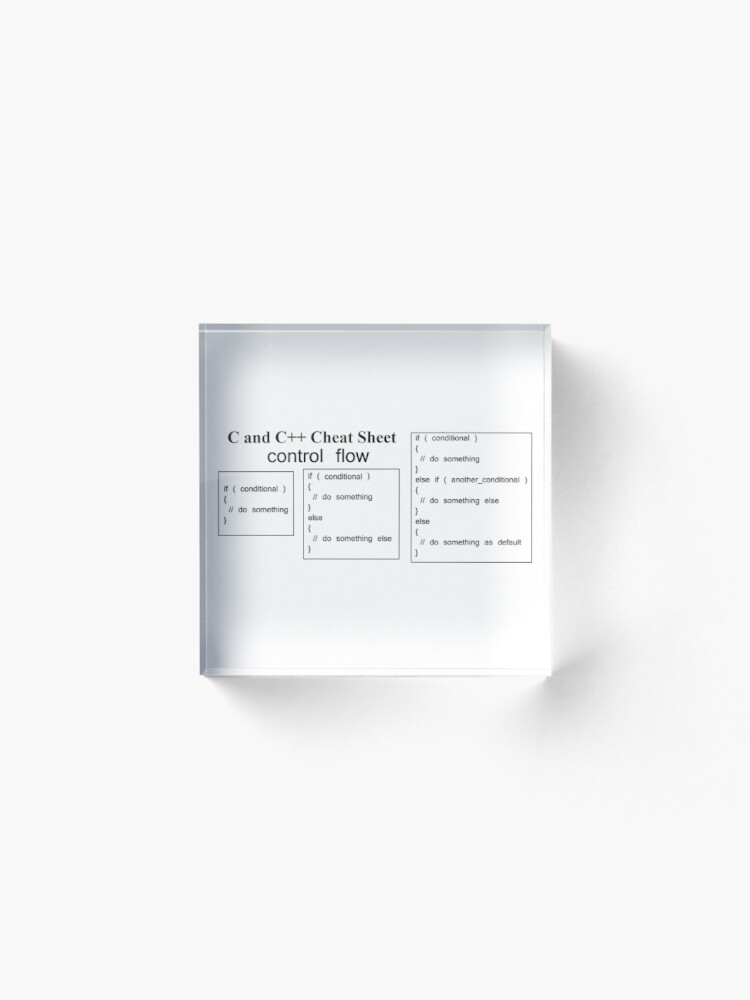 Alternate view of C and C++ Cheat Sheet: Control Flow Acrylic Block