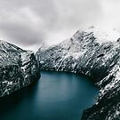 Norway's Geiranger Fjord on Moody Winter Day by visualspectrum