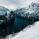 Geiranger Fjord in Norway on Moody Winter Day by visualspectrum