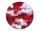 Round red and white fluid painting by Maria Meester